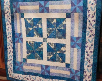 Handmade Teal Quilted Throw