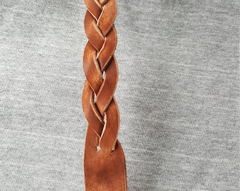 """Leather mystery braided bracelet for an 8"""" wrist."""