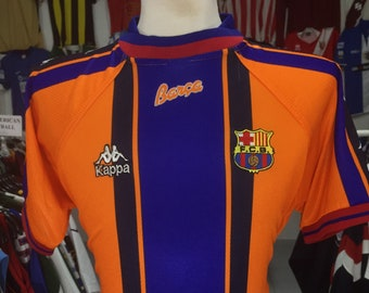 63f09e7f4e Shirt FC Barcelona 1996/97 (S) Away Kappa Orange Jersey Camiseta Soccer  Spain