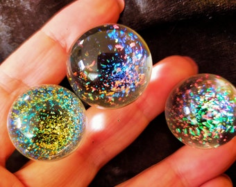 3 glass marbles, price is for the group of three, individually handcrafted in Australia, beautiful sparkly colors!