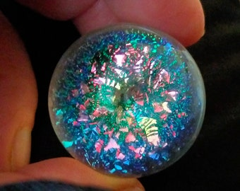 Spiral glass marble. Handmade in Australia with dichroic and borosilicate glass, one of my best!