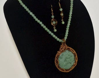 Wire Wrapped Carved (Jade-Like) Aventurine Dragon vs Phoenix Pendant, Necklace and Earrings
