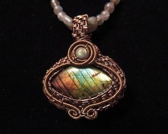 Wire Wrapped Labradorite pendant necklace set