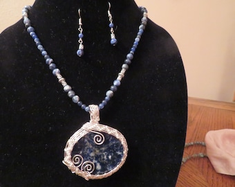 Wire Wrapped Sodalite pendant necklace set