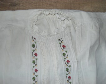 Vintage embroidered folk blouse from the Balkan region