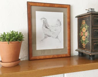 chicken Print, farmyard print, chicken art - Retrospective of a Bird Lost - Raylene