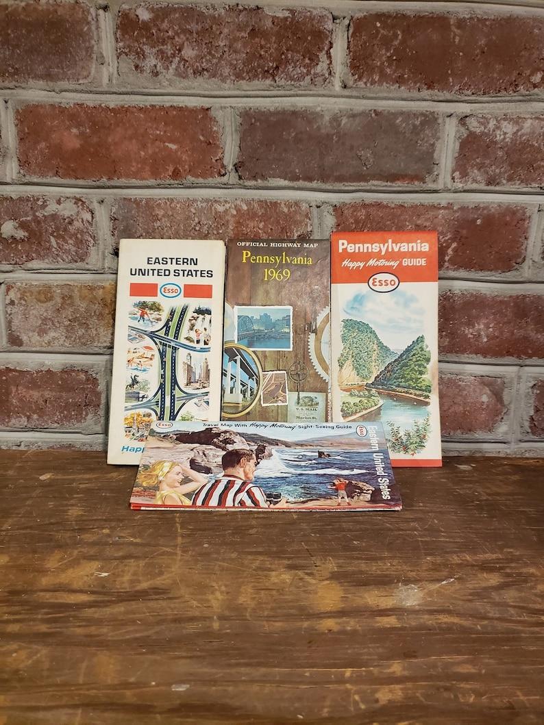Vintage Esso Road Maps, Eastern US Highway Maps, Vintage Esso Pennsylvania  Maps, Mid Century 1950s 1960s Highway Road Maps, Vintage Ephemera