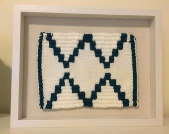 Georgina - Geometric Weave in a White Shadow Box Frame