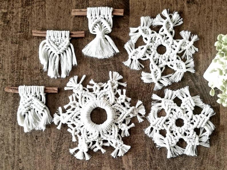 Boho Macrame Christmas Ornament 6 Pack Macrame Wall Hanging Macrame Snowflake Cinnimon