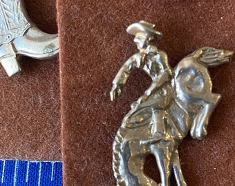 Well Detailed Adornment Vintage Sterling Silver Western Cowboy Tie Clip Full Silhouette of Man Holding a Horse Saddle and Branding Iron