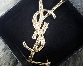 Brooch gold silver ysl letter English pin