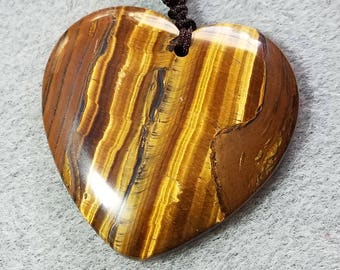 Beautiful Tigers Eye Heart  Pendant Necklace