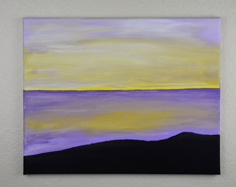 """16x20"""" lavender sunset seascape on canvas with acrylic paints"""