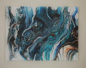 12x16 acrylic swipe pour painting