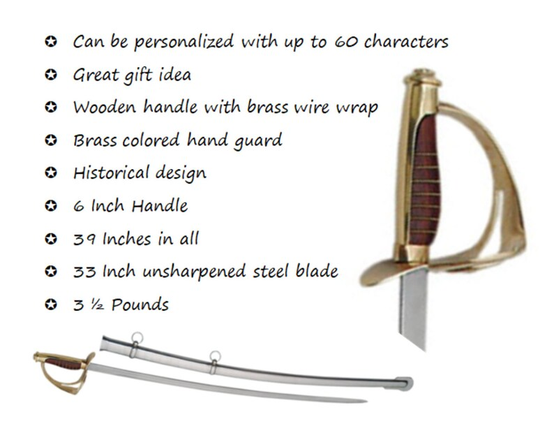 cdbc16b32f0 Personalized Cavalry Saber Sword with your own Custom