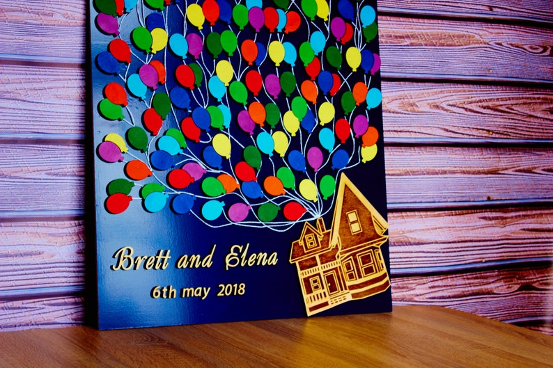 Unique wedding guest book 3D House with balloons guest book alternative 3D Wedding gift for couple UP house guest book Personalized