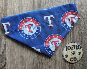 Texas Rangers, reversible,over the collar, dog bandana