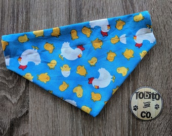Hen and chicks//jellybeans// dog bandana// reversible// over the collar//made to order