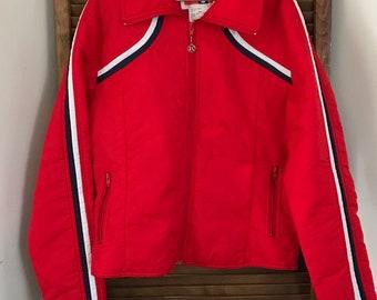 fcbbab8c74 Vintage Ski Jacket Puff Jacket Red 1970s Ski Jacket Trucker Retro Red Jacket  Skater Style 70 s retro SKI wear Jean Claude Killy