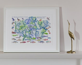 The Waterways and Wildlife of London Map Print