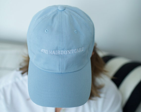 SALE Baseball Cap #NOHAIRDONTCARE Cancer Support - Sky Blue