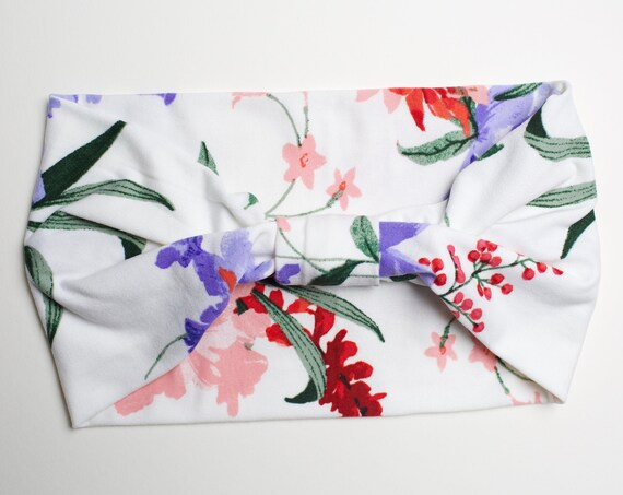White Floral Fields - Women's Knit Stretch Modern Jersey Headband