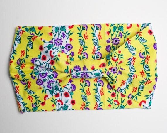 Retro Floral - Women's Knit Stretch Modern Jersey Headband