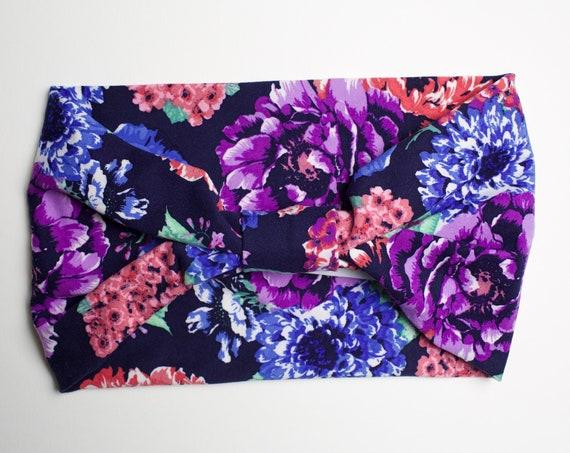 Midnight Watercolor Floral - Women's Knit Stretch Modern Jersey Headband