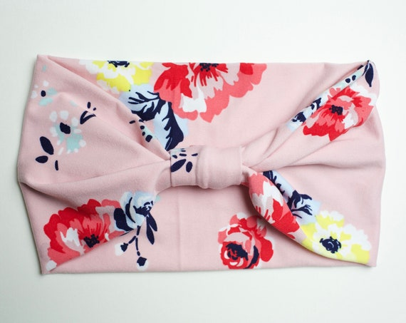 Pink Watercolor Floral - Women's Knit Stretch Modern Jersey Headband