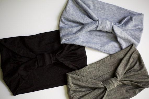 Neutral Bundle - Women's Knit Stretch Headbands - black, gray, blue