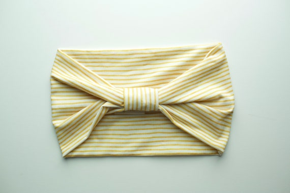 Mustard Stripes - Women's Knit Stretch Modern Jersey Headband