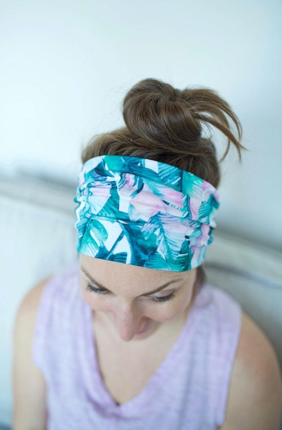 Tropical Watercolor Floral - Women's Knit Stretch Modern Jersey Headband