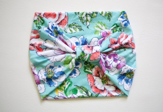 SALE Watercolor Floral - Women's Knit Stretch Headband