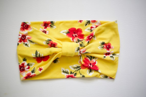 SALE Sun Yellow Floral - Women's ULTRA Soft Knit Stretch Headband