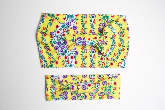Momma & Baby Bundle - Retro Floral - Women's Knit Stretch Modern Jersey Headband