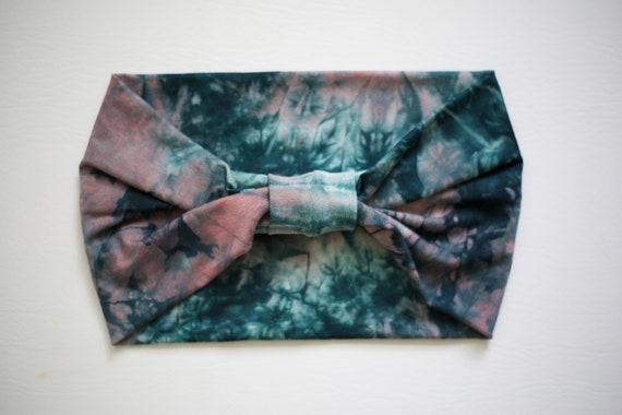 SALE Women's Knit Stretch Headband - Salmon & Seaweed Tie Dye