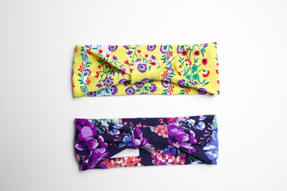 Baby Bundle - Retro/Watercolor Floral - Women's Knit Stretch Modern Jersey Headband
