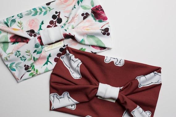 Winter Berry Floral & Polar Bear Burgundy Bundle - Women's Knit Stretch Modern Jersey Headband
