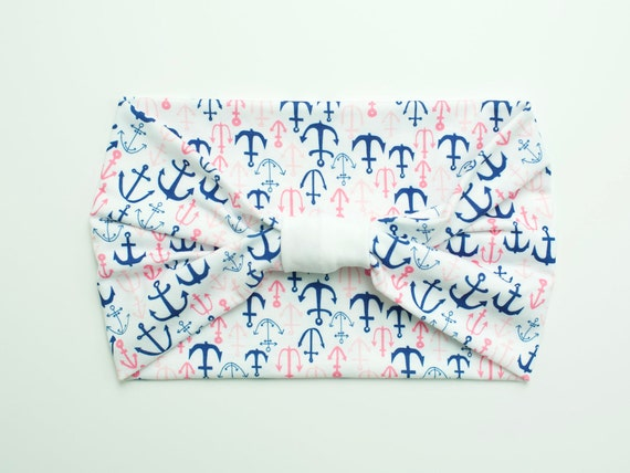 Saylor's Anchors, Saylor Strong, Leukemia Cancer Anchors Pink/Blue/White Adult Women's Knit Modern Jersey Stretch Headband Charity