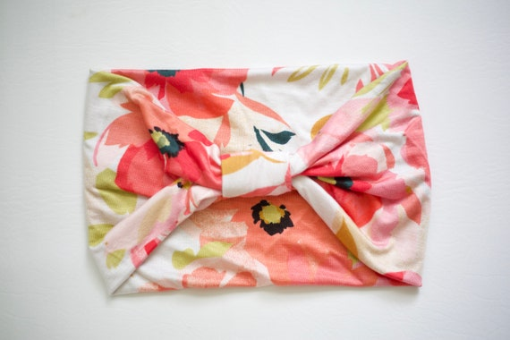 SALE Pink Springtime Floral - Women's Knit Stretch Headband