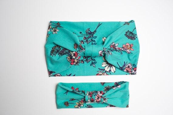 Momma & Baby Bundle - Vintage Floral - Women's Knit Stretch Modern Jersey Headband