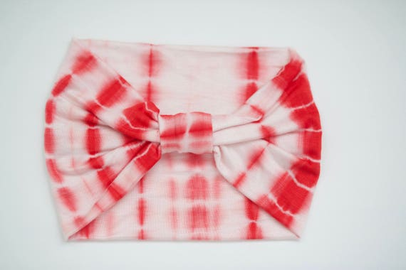 Red/White Tie Dyed - Knit Adult Size Headband