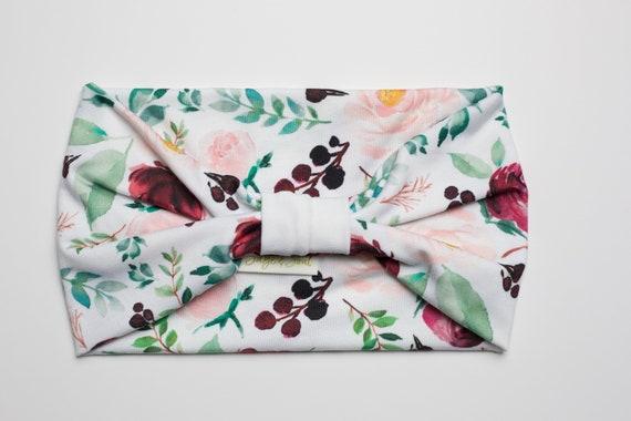 Winter Berry Floral - Women's Knit Stretch Modern Jersey Headband