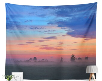 Sunset Field Tapestry | Sunset Tapestry | Nature Wall Decor | Nature Tapestry | Photography | Wilderness | Dusk | Sky Tapestry | Clouds