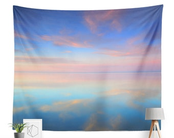 Baltic Sea at Sunset Tapestry   Cloud Tapestry   Pastel Color Home Decor   Sea Tapestry   Water   Skyscape   Nature Tapestry   Sky Tapestry