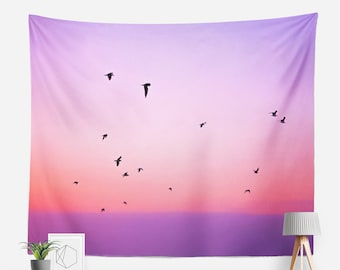 In Flight Tapestry | Sky Tapestry | Pastel Wall Decor | Birds | Boho Tapestries | Photo Tapestry | Peaceful | Pastel Pink & Purple