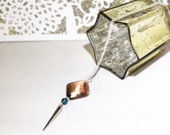 Silver Spike and Copper Bead Necklace