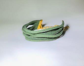Green Faux Suede Cord Bracelet