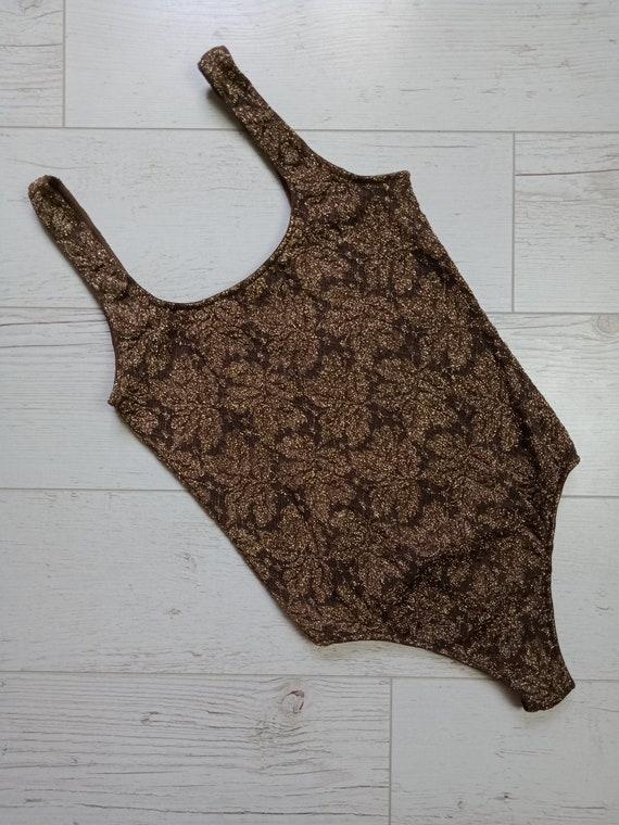 Wolford Lace Bodysuit Sleeveless Vintage Brown Siz