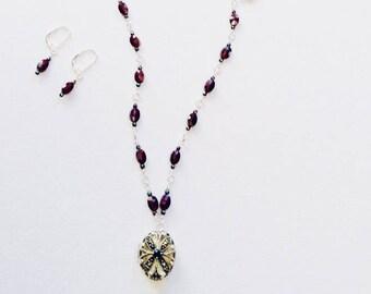 Garnet and Hematite Locket necklace